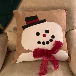 Other - Burlap snowman Christmas Pillow